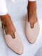 LOSTISY Plus Size Casual Braided Veins Buckle Slingback Flats for women - Pink
