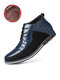 Men Round Toe Lace Up Business Casual Leather Ankle Boots - Blue(Plush Lining)