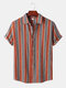Mens Striped Casual Short Sleeve Lapel Curved Hem Shirt - Wine Red