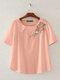 Vintage Floral Embroidery Short Sleeve Dish O-neck T-shirt - Pink