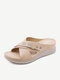 Women Solid Color Casual Hollow Out Comfortabel Wedges Heel Stripe Slippers - Apricot