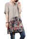 Brief Short Sleeves Patchwork Printed Dresses for Women