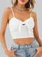 Solid Color Strap Bowknot Sexy Cami For Women - White