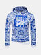 Mens Cotton Blue and White Porcelain Casual Chinese Style Sweater&Hoodie