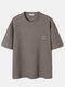 Plus Size Mens Casual Pattern Embroidery Short Sleeve Knitted T-Shirt - Khaki