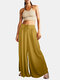 Solid Color Drawstring A-Line Bandage Loose Casual Pants For Women - Yellow