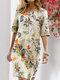 Blumendruck Split O-Ausschnitt Halbarm Casual Cotton Kleid - Gelb