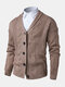 Mens Rib-Knit Button Front Lapel Solid Casual Long Sleeve Cardigans - Brown