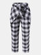 Plaid Print Knotted Pocket High Waist Loose Casual Pants For Women - Black