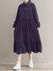 Solid Color Corduroy Patchwork Button Loose Casual Dress - Purple