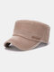 Men Cotton Letters Pattern Embroidery Solid Color Vintage Military Hat - Brown
