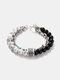 Punk Alloy Frosted Stone Chain Bracelet - #03