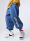 Mens Letter Graphics Fleece Drawstring Magic Straps Jogger Pants With Pocket - Blue