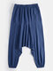 Mens Solid Color Cotton Linen Casual Loose Baggy Pants - Navy