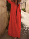 Casual Solid Color V-neck Long Sleeve Pleated Dress - Red