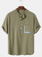 Mens Cotton Solid Color Light Daily Stand Collar Henley Shirts With Pocket - Army Green