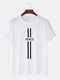 Mens Line Peace Print 100% Cotton Casual Short Sleeve T-Shirts - White
