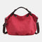 Women Canvas Solid Large Capacity Handbag Crossbody Bag - Red