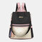 Women Patchwork Tassel Embroidery Thread Love Multi-carry Backpack - Black