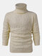 Mens Solid Color Twisted Cable Knit High Neck Slim Fit Casual Sweater - Yellow