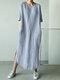 ソリッドカラーのハーフスリーブカジュアルプラスサイズのマキシドレス - 青い