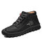 Men Rubber Toe Cap Non Slip Comfy Handmade Microfiber Leather Ankle Boots - Black