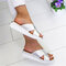 Large Size Women Comfy Open Toe Solid Color Non Slip Wedges Slippers - Silver