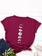 Moon Print Short Sleeve O-neck Loose Casual T-Shirt For Women - Wine Red