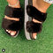 Women's Large Size Solid Color Side Rhinestone House Furry Slippers - Black