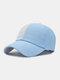 Unisex Cotton Solid Color Lattice Patchwork Letter Embroidery Fashion Sunscreen Baseball Caps - Light Blue