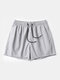 Men Quick Dry Shorts Drawstring Mesh Liner Solid Color Workout Beachwewar Swim Trunks - Light Gray