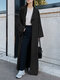 Solid Color Long Sleeve Lapel Collar Coat For Women - Black
