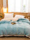 1Pc Flannel Double-Use Quilt Cover Double-Sided Winter Thick Warmth Sofa Bedroom Milk Fleece Blanket - Blue
