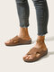 Women Casual Radiation Hollow Brief Low Wedges Comfortable Slippers - Camel