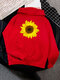 Casual Daisy Floral Printed Long Sleeve Hoodie With Pocket - Red