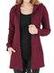 Cappotto di taglia Plus con cerniera con coulisse in tinta unita casual - Vino rosso