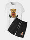 Mens Basketball Bear Print Crew Neck Preppy Two Pieces Outfits - White