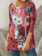 Cartoon Cat Printed Long Sleeve O-neck T-Shirt For Women - Red