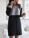 Contrast Color Patchwork Long Sleeve Casual Dress For Women - Black