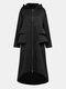 Solid Color Pleated Stiching Front Zipper Irregular Jacket Hooded Coat - Black