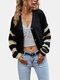 Striped Patchwork Button V-neck Casual Cardigan For Women - Black