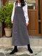 Vintage Corduroy Solid Color Pockets Back Slit Hem Strap Dress - Gray