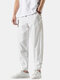 Mens Cotton Linen Vertical Stripe Casual Drawstring Elastic Cuff Pants With Buckles - White