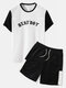Mens Knitted Outfits Letter Print Crew Neck Patchwork Short Sleeve&Shorts Suit - White