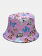 Women & Men Double-Sided Colorful Butterflies Pattern Outdoor Casual Sunshade Bucket Hat - Purple