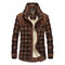 Plus Size Casual Plaid Inside Fleece Business Turn Down Collar Thick Jacket for Men - Red Coffee
