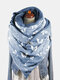 Women Dacron Butterfly Pattern Print With Buckle Casual Thicken Warmth Shawl Scarf - Blue
