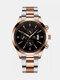 Alloy Steel Band Business Calendar Men Casual Fashion Quartz Watch - Black+Rose