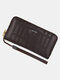Men Vintage Business PU Leather Embossed Money Clips Large Capacity Wallet - Coffee