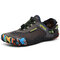 Men Outdoor Breathable Mesh Soft Bungee Closure Water Wadding Shoes - Grey